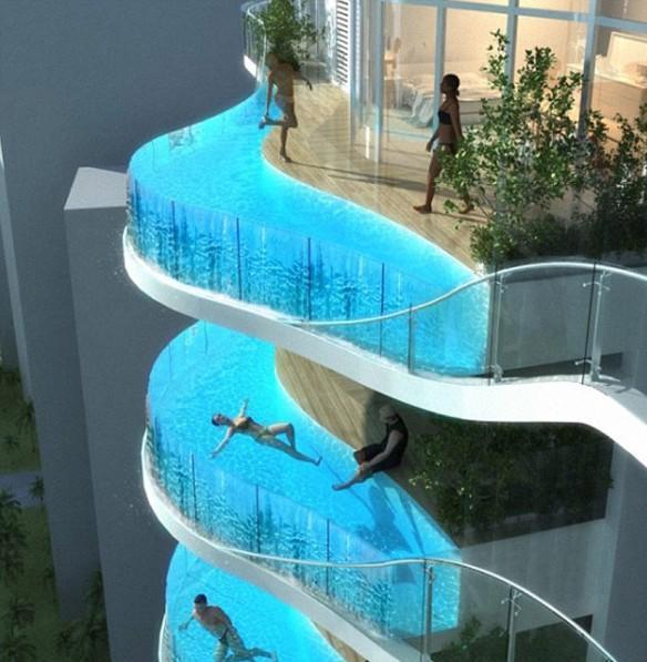 apartemen dengan kolam renang di balkon
