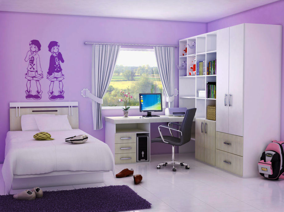 wooden furniture and violet teen room decorating