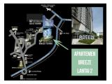 Disewakan Apartemen Bintaro Plaza Residences Tower Breeze. Lantai 2. Full furnished. Full Wallpaper.