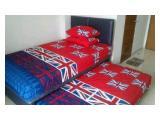 2 tempat tidur ukuran masing-masing 120, bantal, sprei, keset